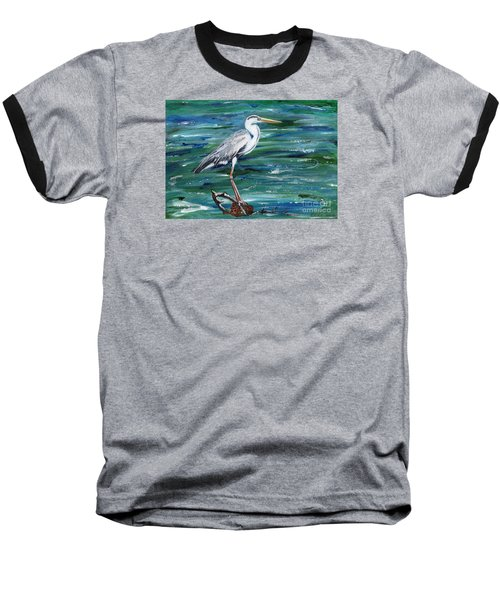 Grey Heron Of Cornwall -painting Baseball T-Shirt by Veronica Rickard