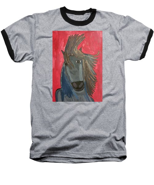 Baseball T-Shirt featuring the painting Grey Horse by Artists With Autism Inc