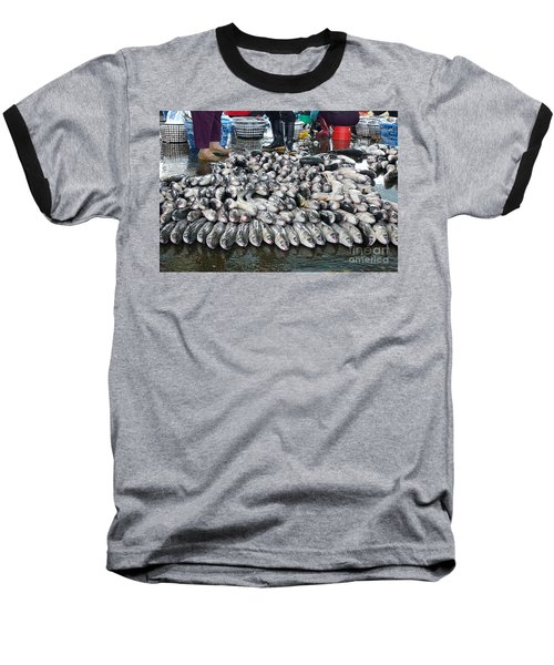 Baseball T-Shirt featuring the photograph Grey Mullet Fish For Sale At The Fish Market by Yali Shi