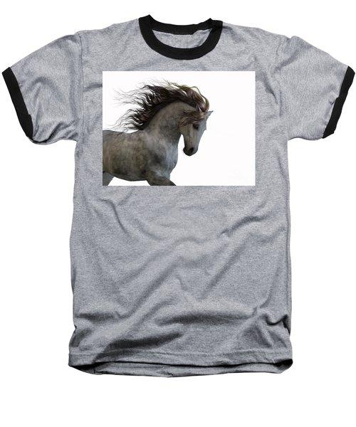 Grey On White Baseball T-Shirt