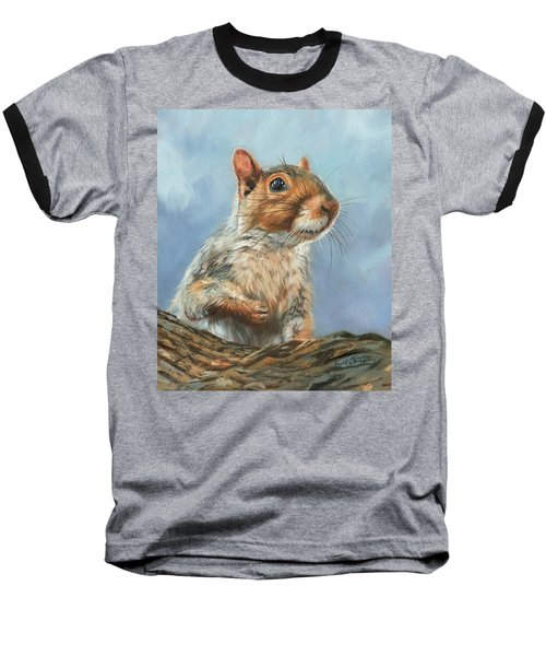 Baseball T-Shirt featuring the painting Grey Squirrel by David Stribbling