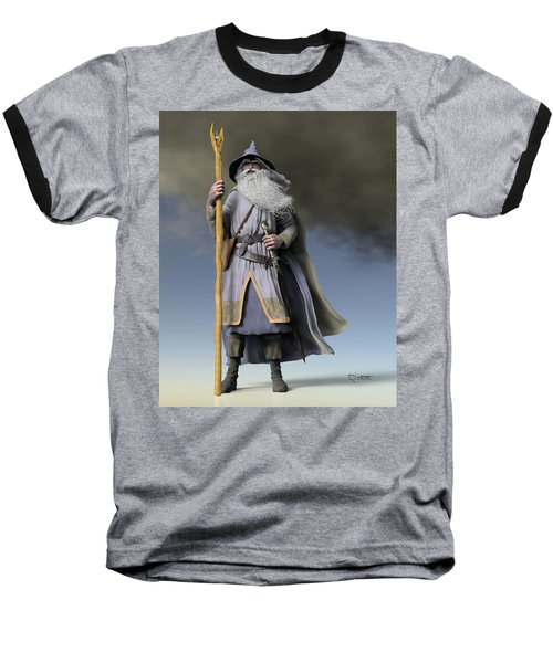 Grey Wizard Baseball T-Shirt by Dave Luebbert