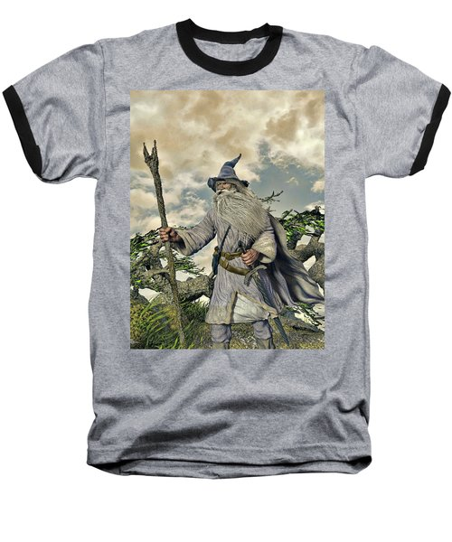 Grey Wizard II Baseball T-Shirt by Dave Luebbert
