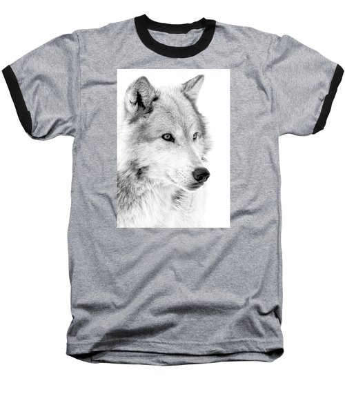 Grey Wolf Profile Baseball T-Shirt by Athena Mckinzie