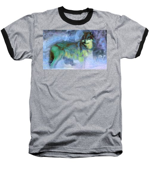Grey Wolves In Snow Baseball T-Shirt