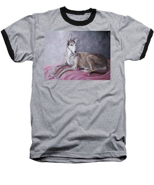Greyhound At Rest Baseball T-Shirt by George Pedro