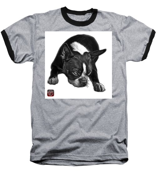 Greyscale Boston Terrier Art - 8384 - Wb Baseball T-Shirt