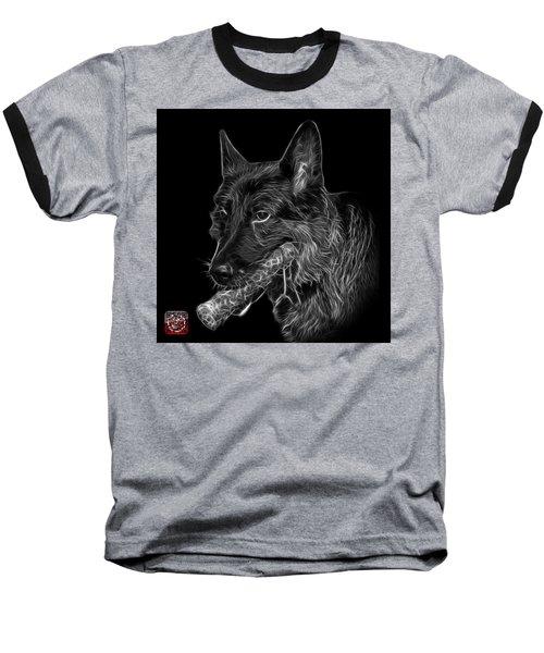 Greyscale German Shepherd And Toy - 0745 F Baseball T-Shirt