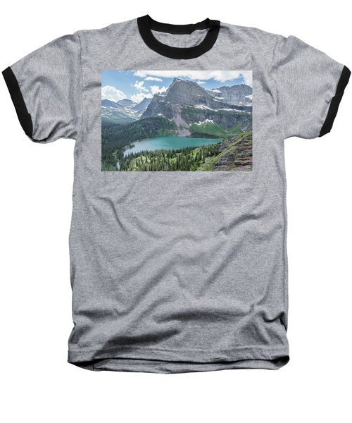 Grinnell Lake From Afar Baseball T-Shirt by Alpha Wanderlust