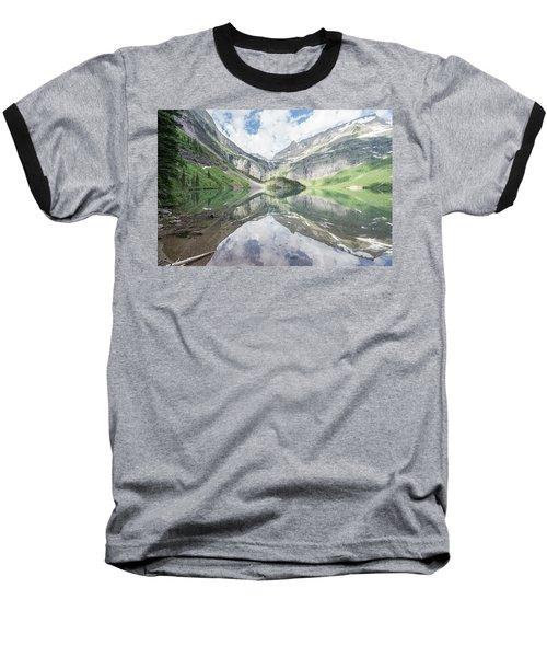 Grinnell Lake Mirrored Baseball T-Shirt by Alpha Wanderlust