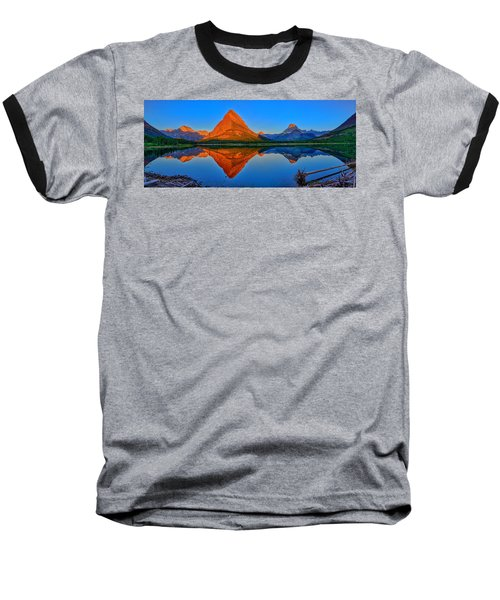 Grinnell Point Alpenglow Panorama Baseball T-Shirt by Greg Norrell