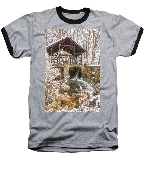 Grist Mill In Fresh Snow Baseball T-Shirt