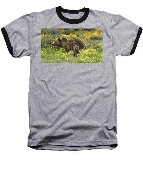Grizzlies In The Wildflowers Baseball T-Shirt