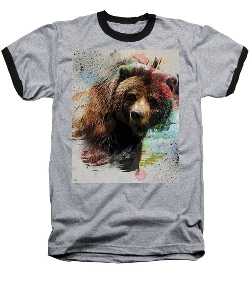 Grizzly Bear Art Baseball T-Shirt by Ron Grafe