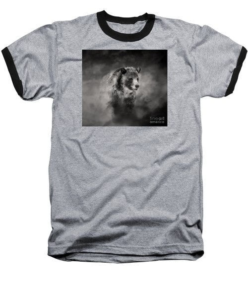 Grizzly Black And White In Clouds Baseball T-Shirt