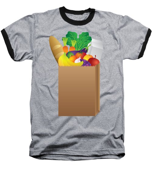 Grocery Paper Bag Of Food Illustration Baseball T-Shirt