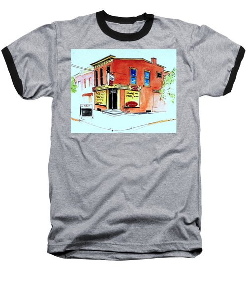 Baseball T-Shirt featuring the painting Grodzicki's Market by William Renzulli