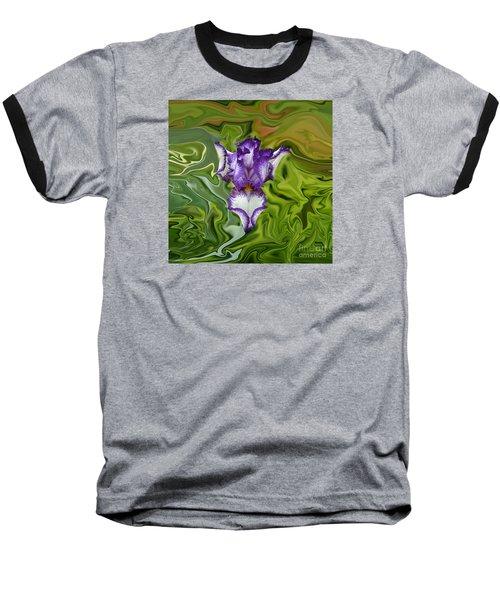 Groovy Purple Iris Baseball T-Shirt by Rebecca Margraf