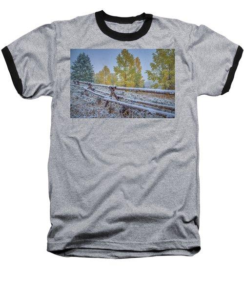 Gros Ventre Grand Teton Fall Snowfall Fence Baseball T-Shirt