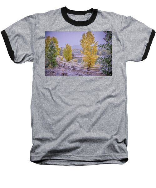 Gros Ventre Grand Teton Fall Snowfall Baseball T-Shirt