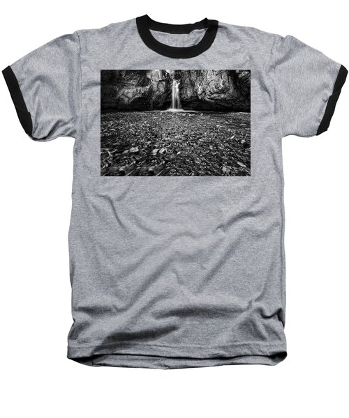 Grotto Falls In Black And White Baseball T-Shirt