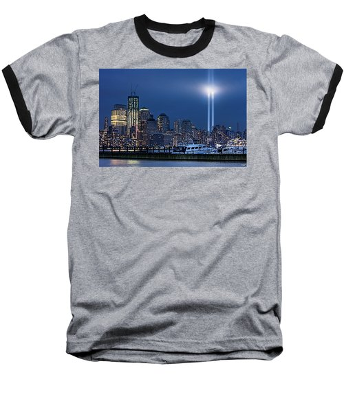Ground Zero Tribute Lights And The Freedom Tower Baseball T-Shirt