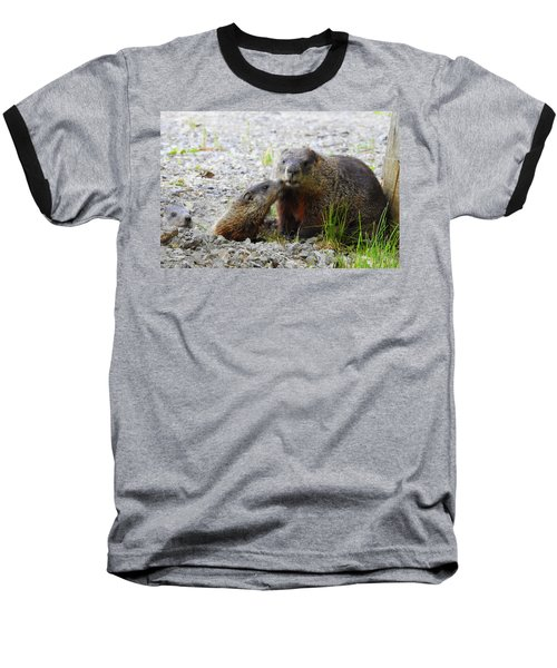 Baseball T-Shirt featuring the photograph Groundhog Kiss by Betty-Anne McDonald