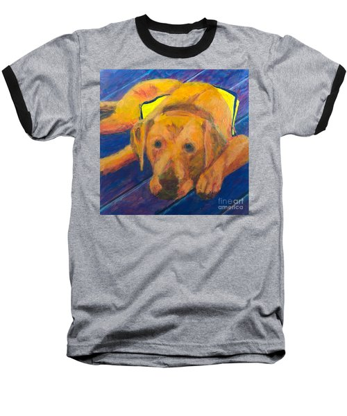 Baseball T-Shirt featuring the painting Growing Puppy by Donald J Ryker III