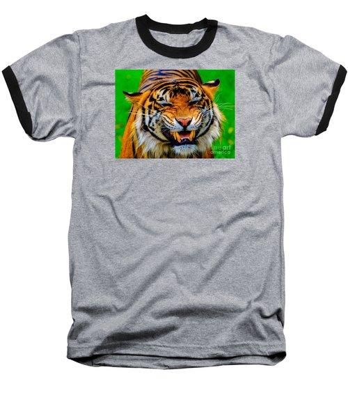 Baseball T-Shirt featuring the photograph Growling Tiger by Ray Shiu