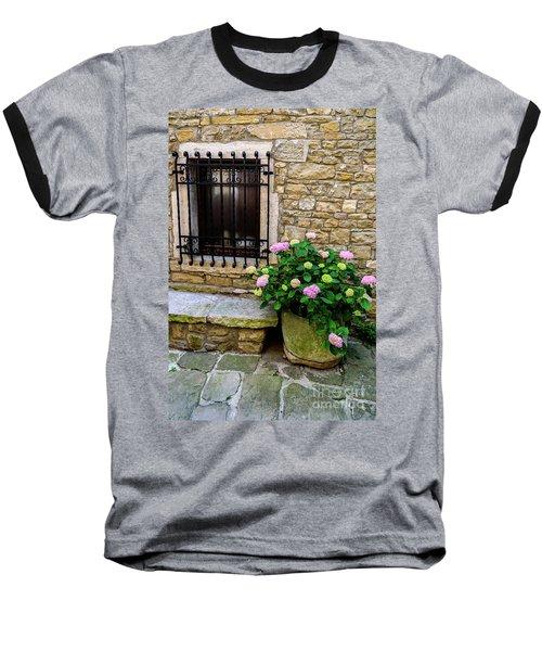 Groznjan Istrian Hill Town Stonework And Flowerpot - Istria, Croatia Baseball T-Shirt