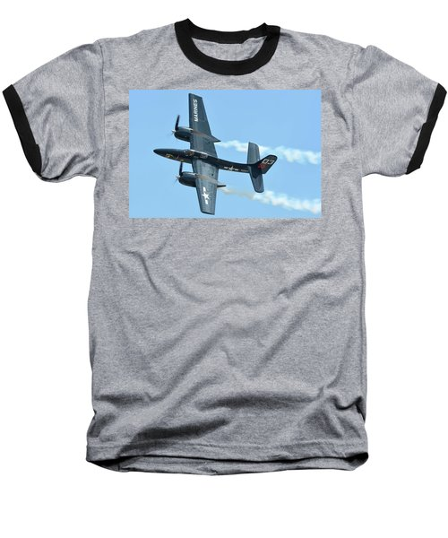 Baseball T-Shirt featuring the photograph Grumman F7f-3p Tigercat Nx700f Here Kitty Kitty Chino California April 30 2016 by Brian Lockett