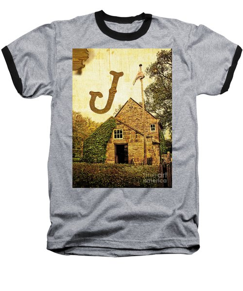 Grungy Melbourne Australia Alphabet Series Letter J Captain Jame Baseball T-Shirt