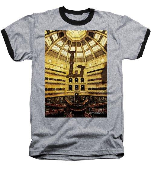 Grungy Melbourne Australia Alphabet Series Letter L State Librar Baseball T-Shirt