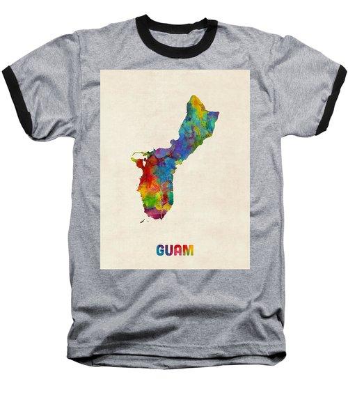Guam Watercolor Map Baseball T-Shirt