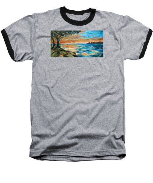 Baseball T-Shirt featuring the painting Guana Sunset by Linda Olsen
