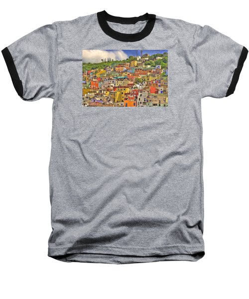 Guanajuato Hillside Baseball T-Shirt by Juli Scalzi