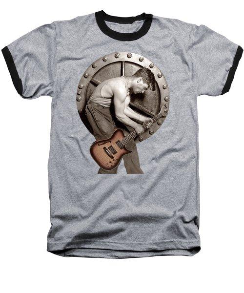 Baseball T-Shirt featuring the photograph Guitar Mechanic T Shirt by Martin Konopacki Restoration