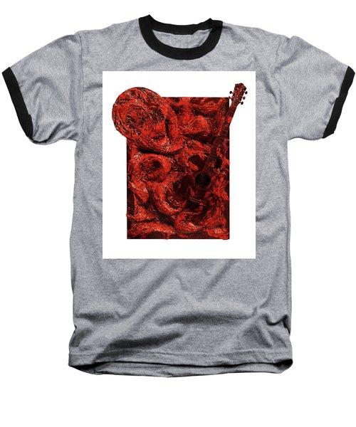 Guitar, Record, Red Baseball T-Shirt