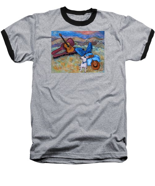 Baseball T-Shirt featuring the painting Guitar Doggy And Me In Wine Country by Xueling Zou