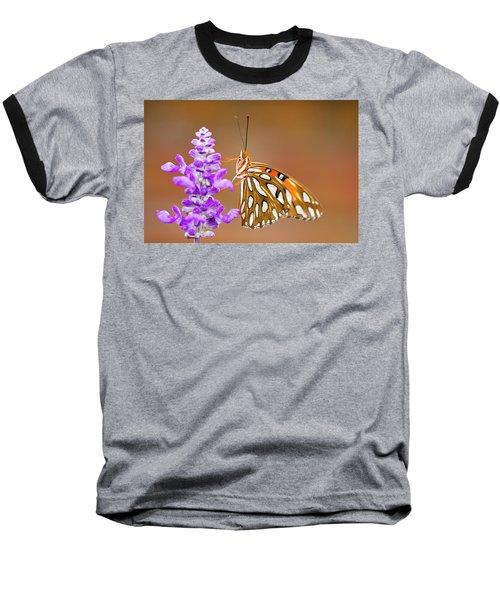 Gulf Fritillary Baseball T-Shirt by Shelley Neff