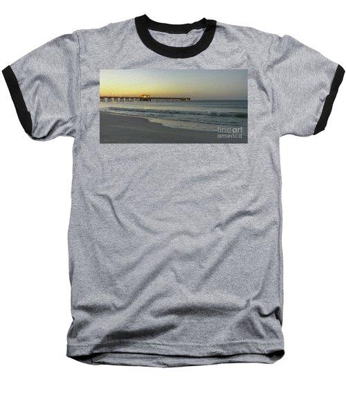 Gulf Shores Alabama Fishing Pier Digital Painting A82518 Baseball T-Shirt