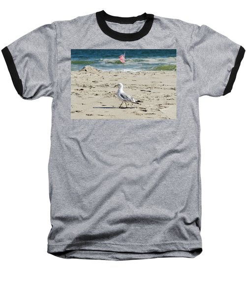 Baseball T-Shirt featuring the photograph Gull And Flag Rockaway Beach by Maureen E Ritter