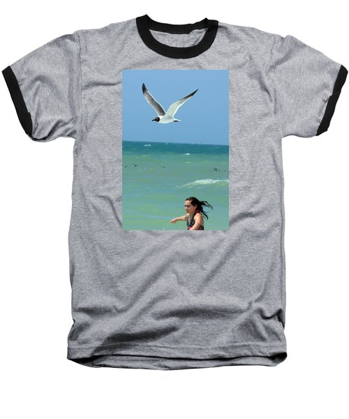 Gull And Girl Baseball T-Shirt