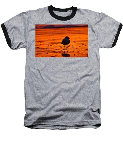 Gull Caught At Sunrise Baseball T-Shirt by Allan Levin