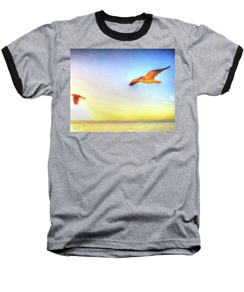 Gull In Sky Baseball T-Shirt