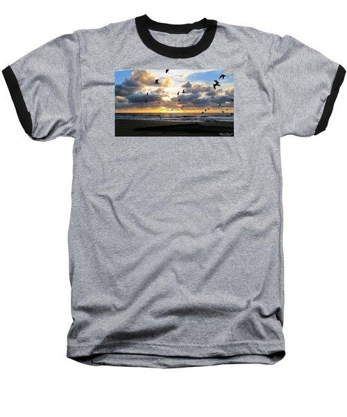 Baseball T-Shirt featuring the photograph Gulls Take Wing by Robert Banach