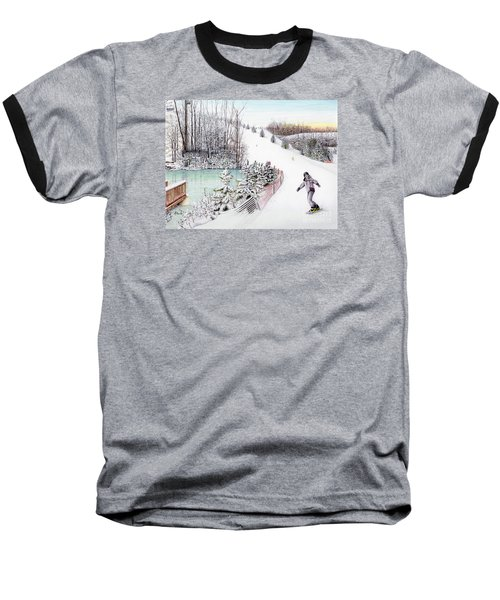 Baseball T-Shirt featuring the painting Gunnar Slope And The Ducky Pond by Albert Puskaric