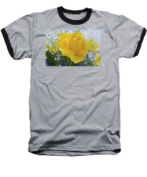 Baseball T-Shirt featuring the photograph Gypsophila And The Rose. by Terence Davis