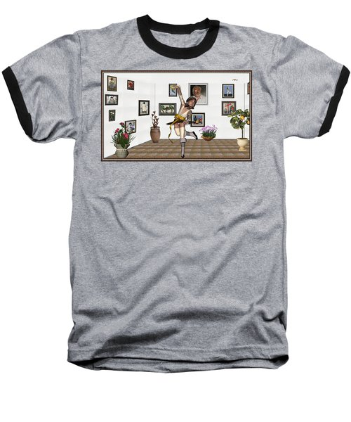 Baseball T-Shirt featuring the mixed media Digital Exhibartition _  Dancing Girl  by Pemaro