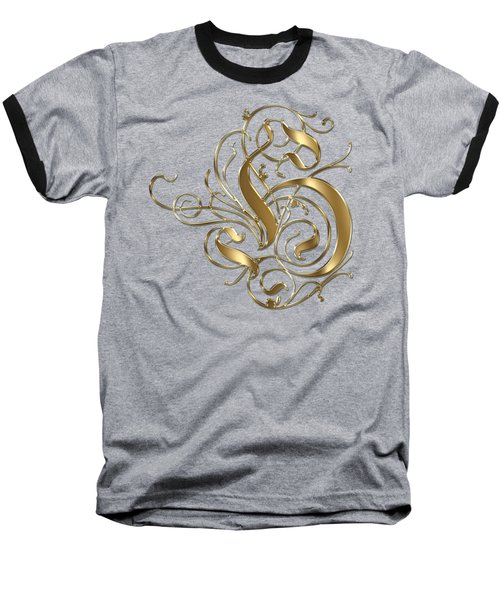 H Ornamental Letter Gold Typography Baseball T-Shirt